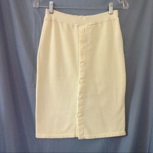 1980s yellow knit pencil skirt